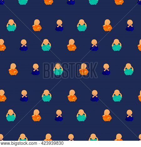 Seamless Pattern With Cute Cartoon Buddha. Funny Pattern.