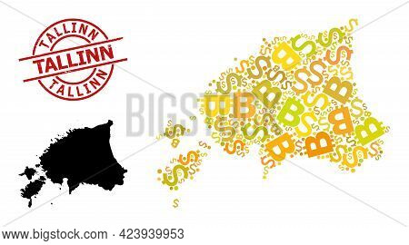 Rubber Tallinn Seal, And Money Mosaic Map Of Estonia. Red Round Seal Includes Tallinn Caption Inside