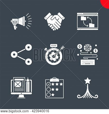 Seo Related Vector Glyph Icons Set. Strategy For Victory, Customer Reviews, Blog Management, Earn On