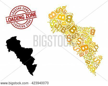 Grunge Loading Zone Seal, And Finance Collage Map Of Greece - Andros Island. Red Round Stamp Seal Co