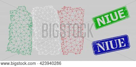 Mesh Italy Flag Model, And Niue Blue And Green Rectangle Unclean Stamp Seals. Mesh Carcass Image Is