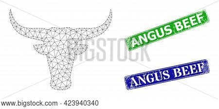 Net Bull Head Image, And Angus Beef Blue And Green Rectangular Unclean Stamp Seals. Polygonal Wirefr