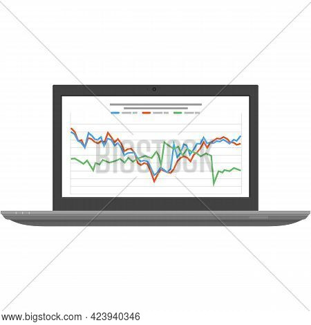 Laptop With Graph And Chart Forex Trade Money Stock Vector