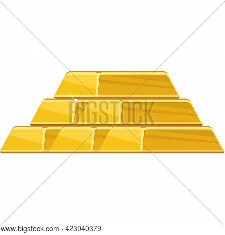 Gold Bar Vector Golden Bullion Ingot Pile Flat Cartoon