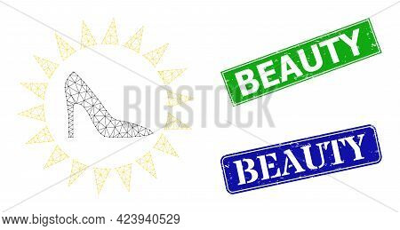 Triangular Exclusive Ladies Shoes Image, And Beauty Blue And Green Rectangle Scratched Stamp Seals.