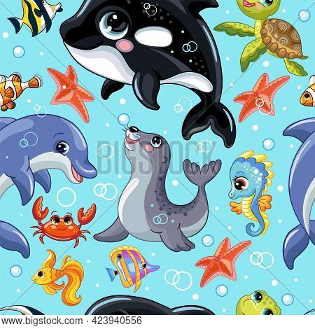 Seamless Vector Pattern With Cute Cartoon Water Animals Orca, Seahorse, Seal, Dolphin, Turtle. Color