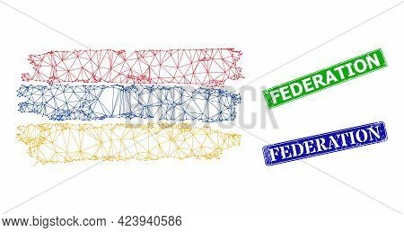 Polygonal Armenian Flag Image, And Federation Blue And Green Rectangular Textured Seals. Polygonal W