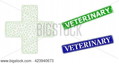 Polygonal Veterinary Cross Model, And Veterinary Blue And Green Rectangular Textured Stamp Seals. Me