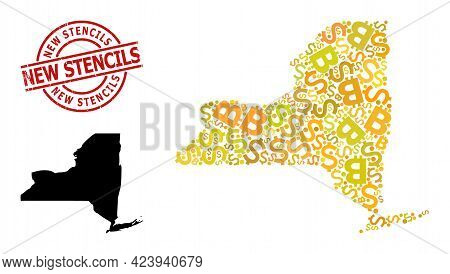 Textured New Stencils Stamp Seal, And Finance Mosaic Map Of New York State. Red Round Stamp Seal Con
