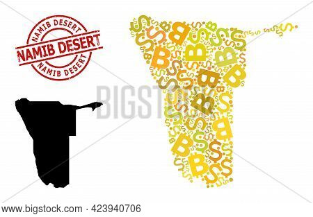 Distress Namib Desert Stamp Seal, And Financial Mosaic Map Of Namibia. Red Round Stamp Seal Includes