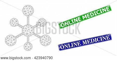 Polygonal Web Connections Model, And Online Medicine Blue And Green Rectangular Dirty Seal Prints. P