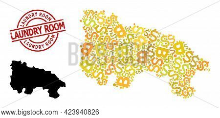 Scratched Laundry Room Stamp Seal, And Financial Collage Map Of La Rioja Spanish Province. Red Round