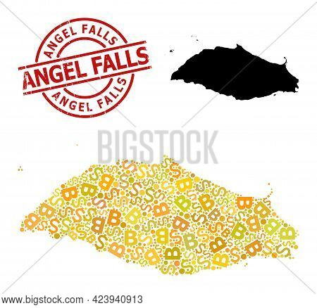 Grunge Angel Falls Stamp Seal, And Finance Collage Map Of Isla La Tortuga. Red Round Seal Contains A