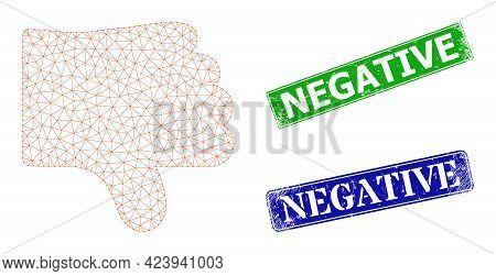 Polygonal Dislike Thumb Image, And Negative Blue And Green Rectangle Grunge Seal Imitations. Polygon