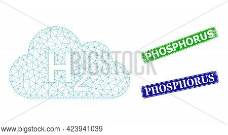 Triangular Hydrogen Gas Image, And Phosphorus Blue And Green Rectangle Textured Seals. Mesh Wirefram