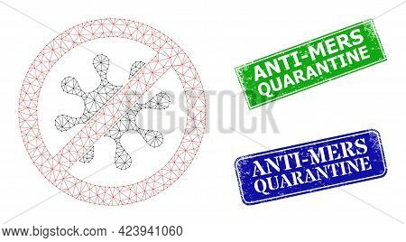 Net Stop Virus Image, And Anti-mers Quarantine Blue And Green Rectangle Scratched Seal Imitations. M