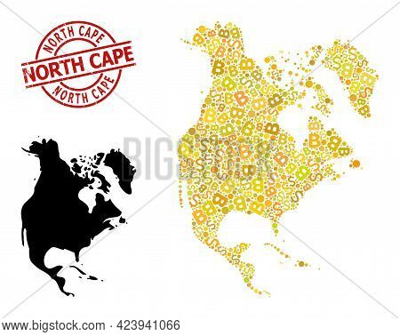 Textured North Cape Seal, And Finance Mosaic Map Of North America. Red Round Seal Contains North Cap