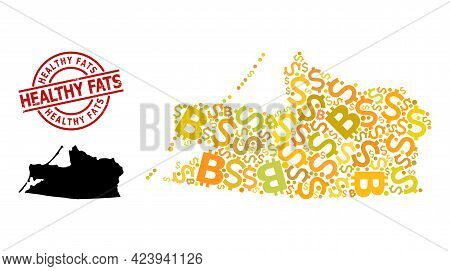 Distress Healthy Fats Stamp Seal, And Finance Collage Map Of Kaliningrad Region. Red Round Seal Cont