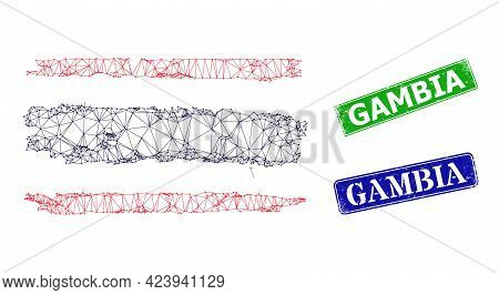 Mesh Thailand Flag Image, And Gambia Blue And Green Rectangular Unclean Seal Imitations. Mesh Wirefr