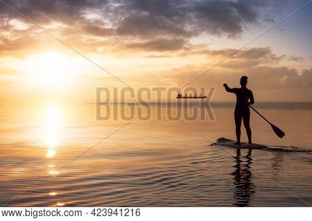 Adventurous Woman On A Paddle Board Is Paddeling In The Pacific West Coast Ocean. Sunset Sky Art Ren
