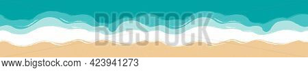 Panoramic View Of The Beach. Long, Elongated, Horizontal Banner. Sand, Seashore With Azure Waves. Se