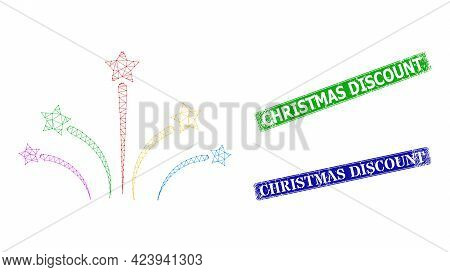 Network Fireworks Image, And Christmas Discount Blue And Green Rectangle Grunge Seals. Polygonal Car