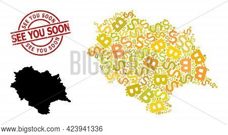Distress See You Soon Seal, And Financial Mosaic Map Of Himachal Pradesh State. Red Round Seal Has S