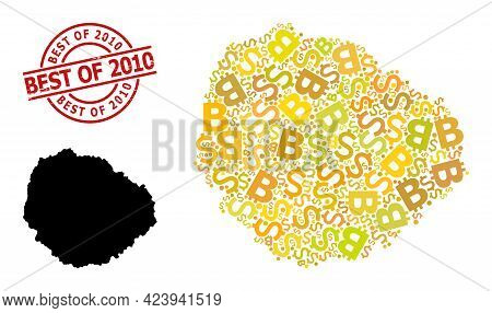 Rubber Best Of 2010 Seal, And Finance Mosaic Map Of La Gomera Island. Red Round Seal Includes Best O