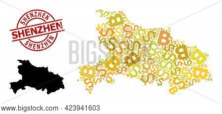 Textured Shenzhen Stamp Seal, And Finance Collage Map Of Hubei Province. Red Round Stamp Seal Includ