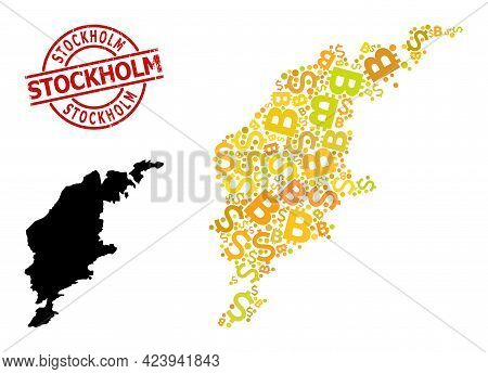 Rubber Stockholm Stamp Seal, And Finance Mosaic Map Of Gotland Island. Red Round Stamp Contains Stoc