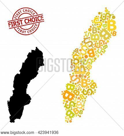 Grunge First Choice Stamp Seal, And Finance Collage Map Of Sweden. Red Round Stamp Seal Has First Ch