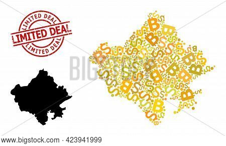 Textured Limited Deal Seal, And Banking Collage Map Of Rajasthan State. Red Round Stamp Seal Has Lim