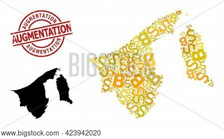 Distress Augmentation Seal, And Finance Mosaic Map Of Brunei. Red Round Stamp Seal Contains Augmenta