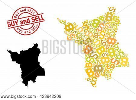 Grunge Buy And Sell Stamp, And Money Mosaic Map Of Roraima State. Red Round Stamp Has Buy And Sell C