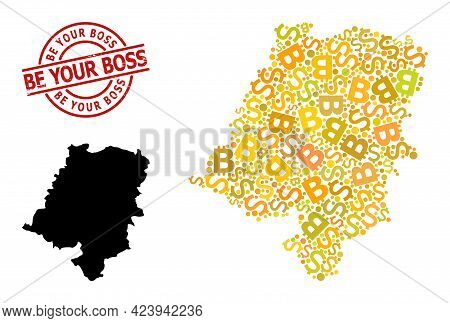 Textured Be Your Boss Stamp Seal, And Financial Mosaic Map Of Opole Province. Red Round Stamp Seal C