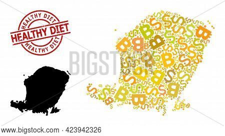 Textured Healthy Diet Stamp Seal, And Bank Collage Map Of Lombok Island. Red Round Stamp Includes He