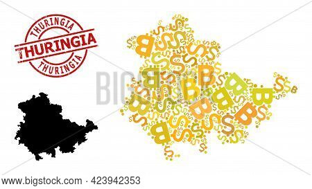 Textured Thuringia Stamp Seal, And Bank Mosaic Map Of Thuringia State. Red Round Stamp Seal Contains