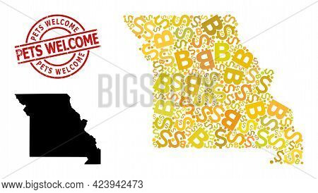 Distress Pets Welcome Seal, And Finance Mosaic Map Of Missouri State. Red Round Seal Contains Pets W