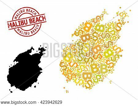 Textured Malibu Beach Stamp Seal, And Banking Mosaic Map Of Paros Island. Red Round Stamp Seal Has M