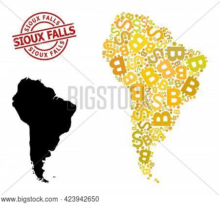 Distress Sioux Falls Stamp Seal, And Currency Collage Map Of South America. Red Round Seal Includes