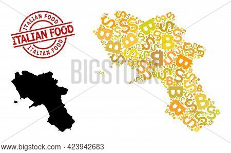 Rubber Italian Food Seal, And Banking Collage Map Of Campania Region. Red Round Seal Contains Italia
