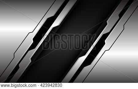 Abstract Silver Black Line Circuit Cyber Slash On Dark Grey Metallic Design Modern Luxury Futuristic