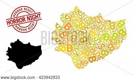 Rubber Horror Night Stamp Seal, And Finance Mosaic Map Of Swietokrzyskie Province. Red Round Stamp C