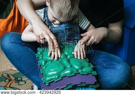 Sensory Play For Kids With Special Needs. Activities For Kids With Disabilities, Cerebral Palsy. Boy