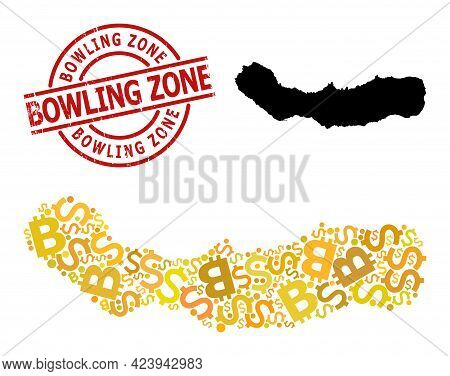 Distress Bowling Zone Seal, And Money Collage Map Of Sao Miguel Island. Red Round Stamp Seal Contain