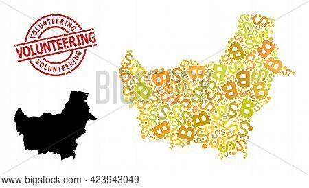 Grunge Volunteering Stamp Seal, And Money Mosaic Map Of Borneo Island. Red Round Stamp Seal Includes