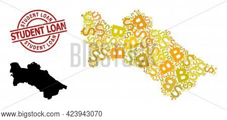 Rubber Student Loan Stamp Seal, And Money Collage Map Of Turkmenistan. Red Round Stamp Has Student L
