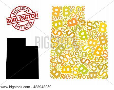Rubber Burlington Seal, And Finance Mosaic Map Of Utah State. Red Round Stamp Seal Contains Burlingt
