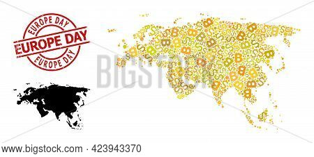 Distress Europe Day Badge, And Finance Mosaic Map Of Europe And Asia. Red Round Badge Includes Europ