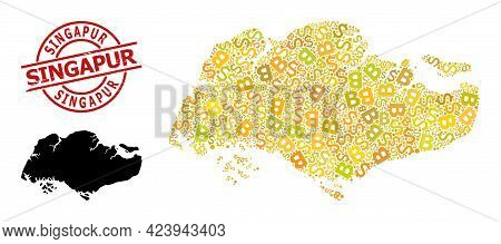 Distress Singapur Seal, And Finance Collage Map Of Singapore. Red Round Stamp Seal Contains Singapur